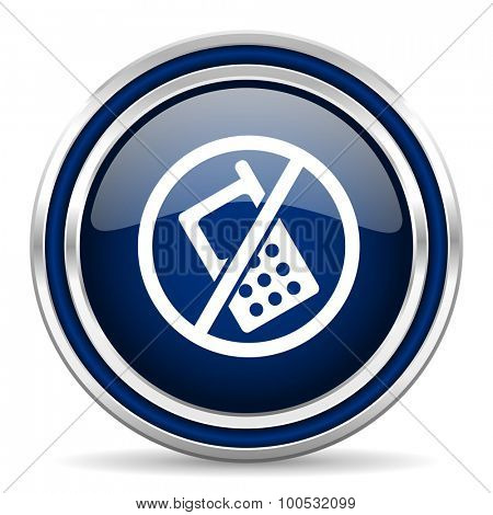 no phone blue glossy web icon modern computer design with double metallic silver border on white background with shadow for web and mobile app round internet button for business usage