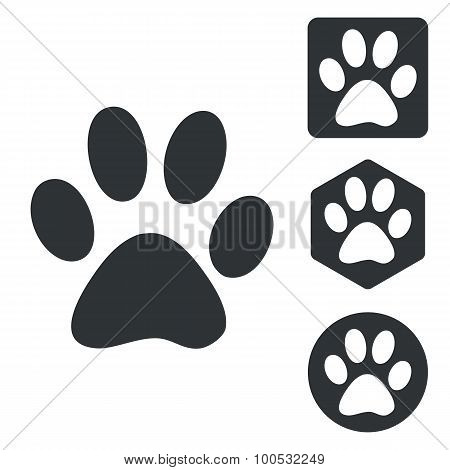 Animal icon set, monochrome
