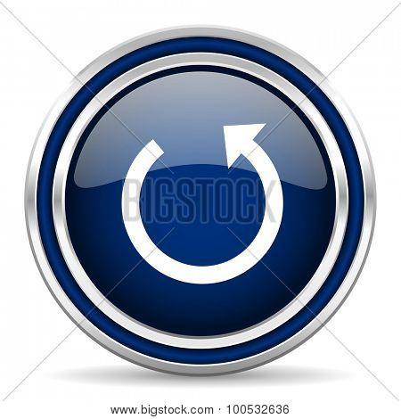 rotate blue glossy web icon modern computer design with double metallic silver border on white background with shadow for web and mobile app round internet button for business usage