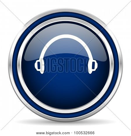 headphones blue glossy web icon modern computer design with double metallic silver border on white background with shadow for web and mobile app round internet button for business usage