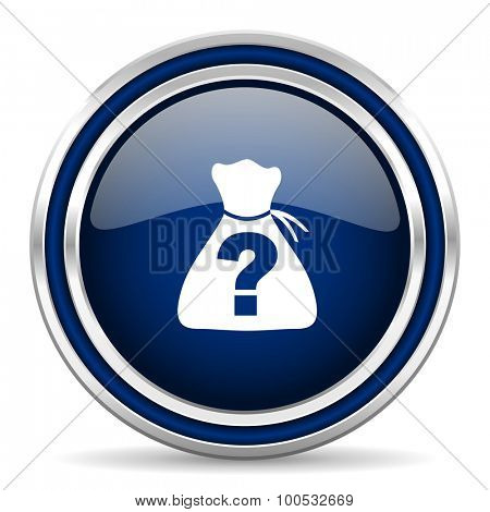 riddle blue glossy web icon modern computer design with double metallic silver border on white background with shadow for web and mobile app round internet button for business usage