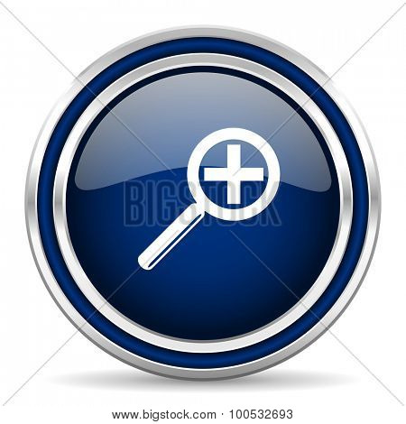 lens blue glossy web icon modern computer design with double metallic silver border on white background with shadow for web and mobile app round internet button for business usage