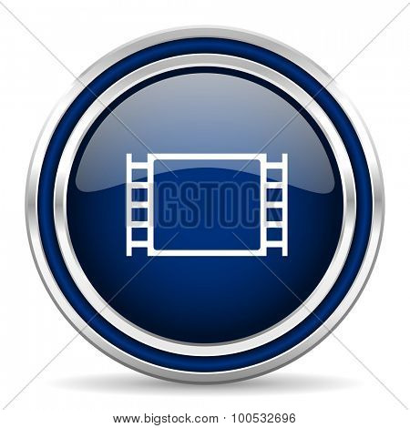 movie blue glossy web icon modern computer design with double metallic silver border on white background with shadow for web and mobile app round internet button for business usage