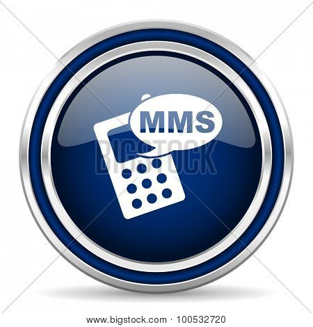 mms blue glossy web icon modern computer design with double metallic silver border on white background with shadow for web and mobile app round internet button for business usage