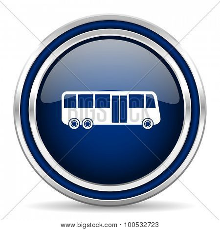 bus blue glossy web icon modern computer design with double metallic silver border on white background with shadow for web and mobile app round internet button for business usage