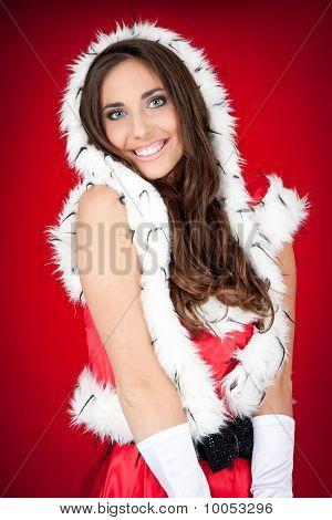 Sexy Brunette Woman In Santa Costume