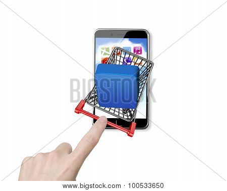 Woman Forefinger Pushing Shopping Cart With App Button On Smartphone