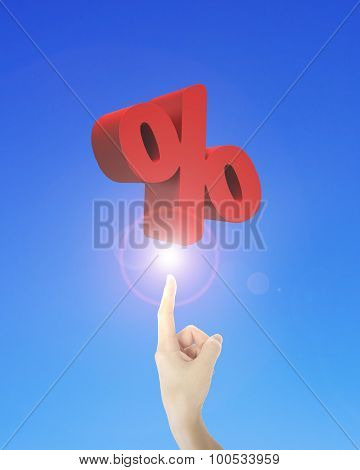 Human Finger Pointing At 3D Red Percentage Sign