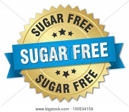 Sugar Free 3D Gold Badge With Blue Ribbon
