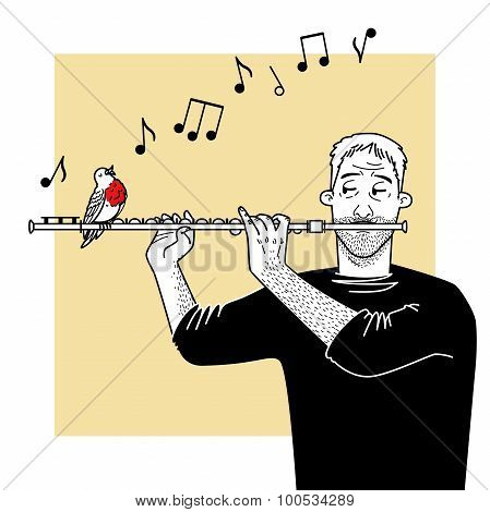The musician plays a flute