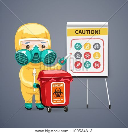 Caution Biohazard Poster with Doctor and Flipchart