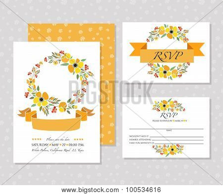Autumn Wedding Graphic Set With Wreaths