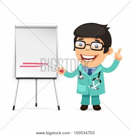Doctor With Marker in Front of the Flipchart