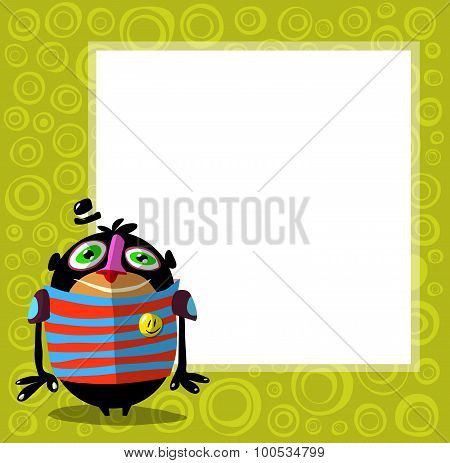 Funny Creature Character With Hat In Front Of Poster For Text