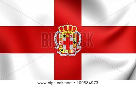 Flag Of Almeria City, Spain.