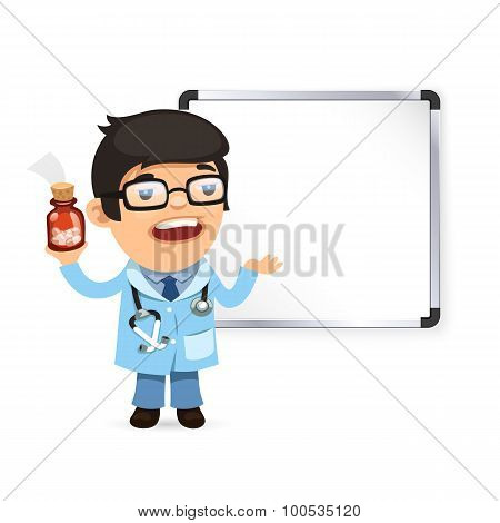 Doctor With Pills in Front of the Whiteboard