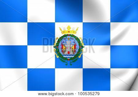 Flag Of Ferrol City (galicia), Spain.