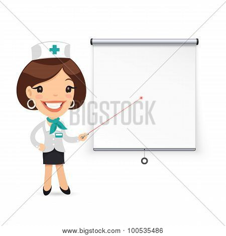 Lady Doctor with Laser Pointer Presenting Projector Screen