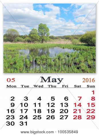 Calendar For May 2016 On The Background Of Summer