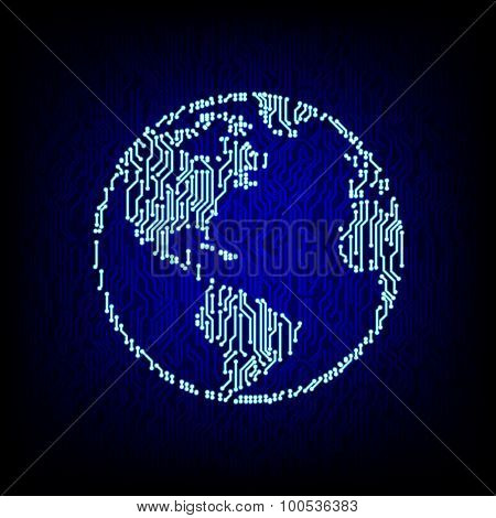 Global networking concept. Circuit board globe vector illustration.