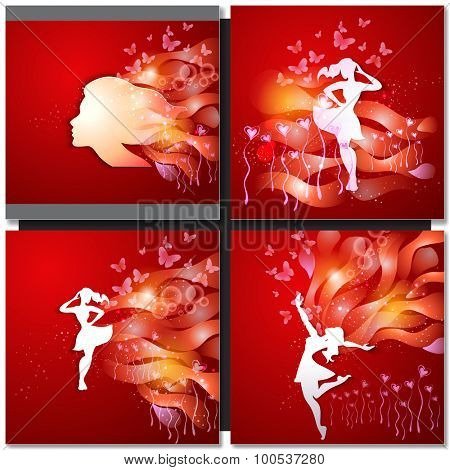 Valentine Day Greeting Card. Beautiful young woman with flowers. Paper art design.