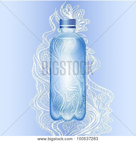 Transparent bottle of water with floral pattern doodles. Vector illustration