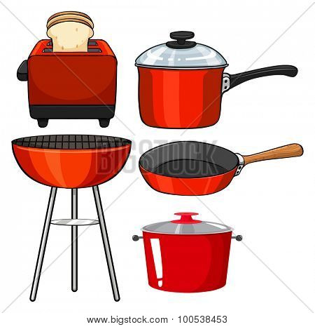Kitchenware in red color illustration