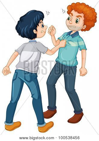 Two angry men fighting illustration