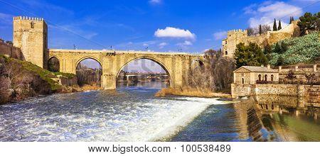 panorama of San Martin's Bridge in medieval Toledo, Spain