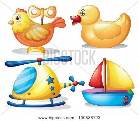Toy set with animals and transportation illustration