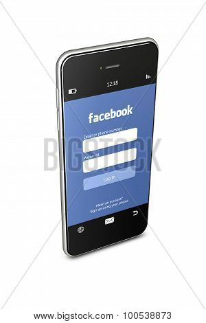 Poland, Gdansk - 8Th Of August 2015. Mobile Phone With Facebook Login Page Isolated Over White