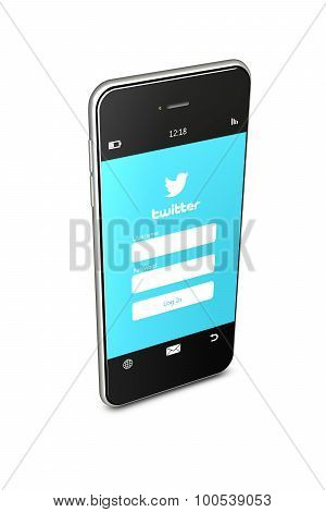 Poland, Gdansk - 8Th Of August 2015. Mobile Phone With Twitter Login Page Isolated Over White