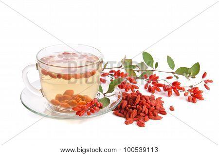 Goji Fresh Antioxidant Tea  Isolated On White Background