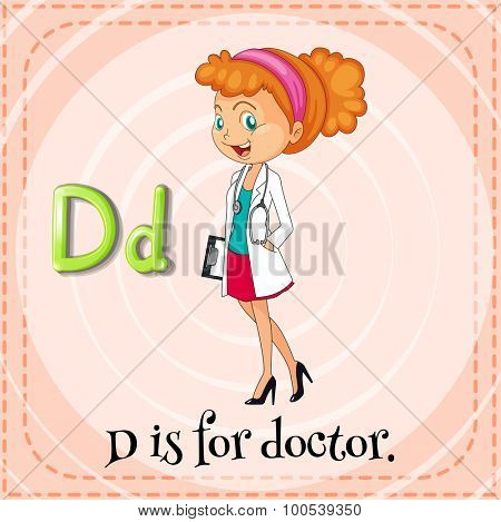 Flashcard letter D is for doctor illustration