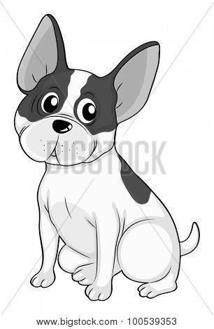 Little dog in black and white illustration