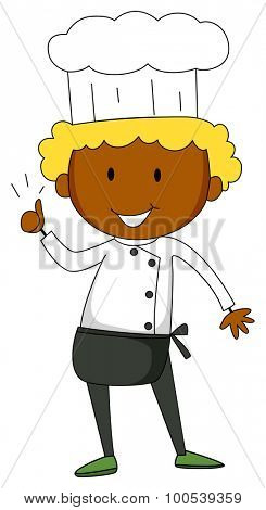 Male chef having thumb up illustration