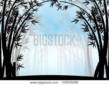 Silhouette bamboo jungle with fog illustration