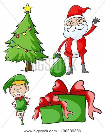 Santa and elf by the christmas tree illustration