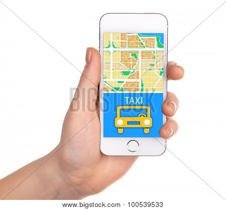 Hand holding mobile smart phone with interface taxi, isolated on white