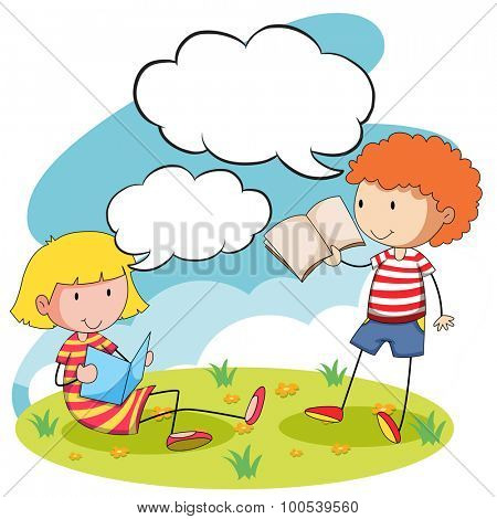 Boy and girl reading books in the park illustration