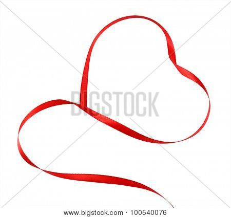 Red ribbon in shape of heart isolated on white