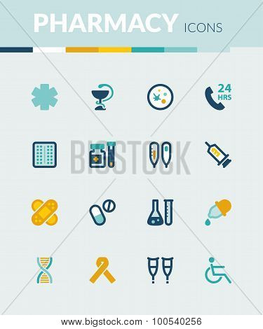 Pharmacy. Healthcare Colorful Flat Icons