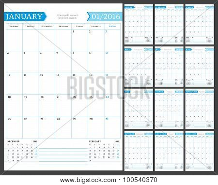 Monthly Calendar Planner For 2016 Year. Vector Design Print Template With Place For Notes. Week Star
