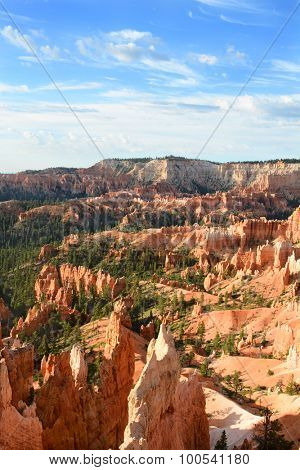 Vertical shot of the Amphitheater seen from the Queens Garden Trail in Bryce Canyon National Park, Utah. The Amphitheater is famous for it numerous formations called Hoodoos.