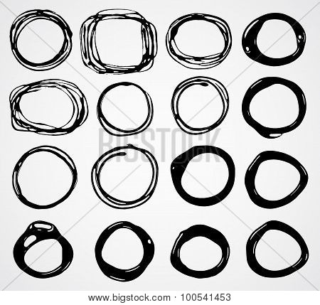 Set of black doodle circle, blob frame.