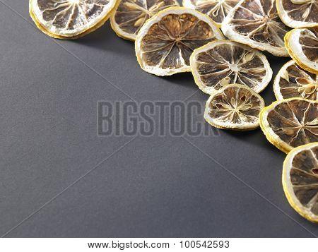 dry lemon sliced on the white background