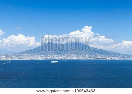 Italian Coastal Landscape With Mount Vesuvius
