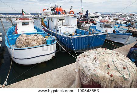 Wooden Boats Moored In Lacco Ameno Port, Ischia