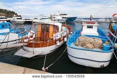 Wooden Fishing Boats Moored In Lacco Ameno Port