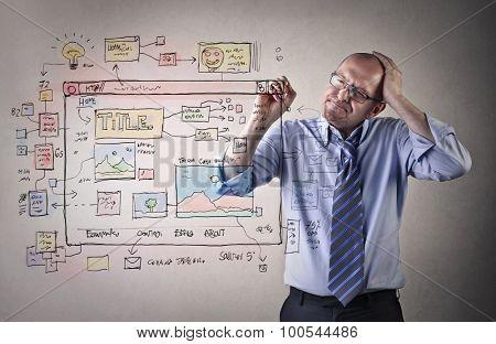 Businessman working on a scheme